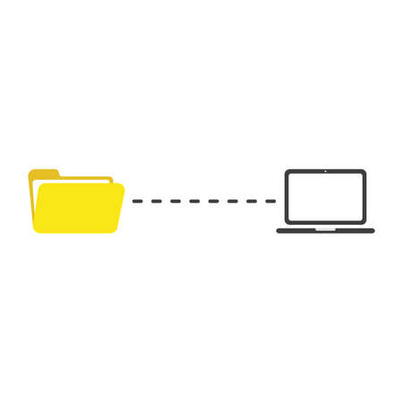 Flat design illustration concept of file transfer between yellow open folder symbol icon and black laptop computer.