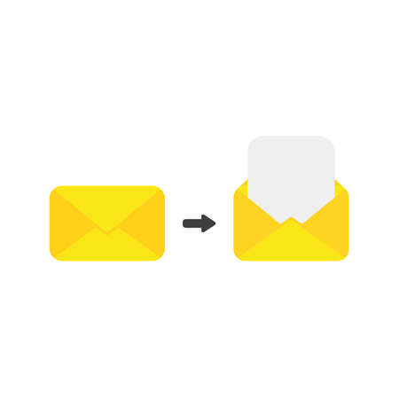 Flat design illustration concept of yellow closed and open envelope symbol icon with blank paper.