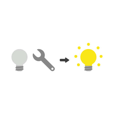 Flat design illustration concept of grey light bulb symbol icon with spanner and light bulb glowing. Illustration