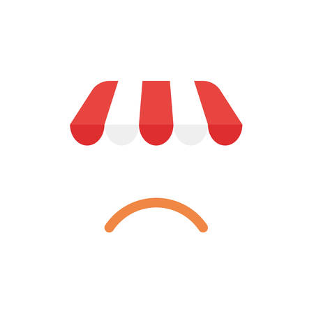 Flat design illustration concept of red and white shop or store awning symbol icon with orange sulking mouth. Illustration