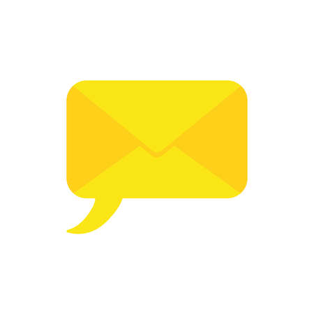 Flat design illustration concept of yellow speech bubble closed envelope symbol icon. Illustration
