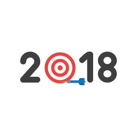 Flat design illustration concept of black 2018 word with bulls eye symbol icon and miss the target with blue dart.