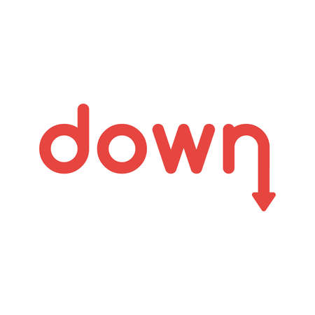 Flat design illustration concept of red down word with arrow symbol icon moving down. Illustration