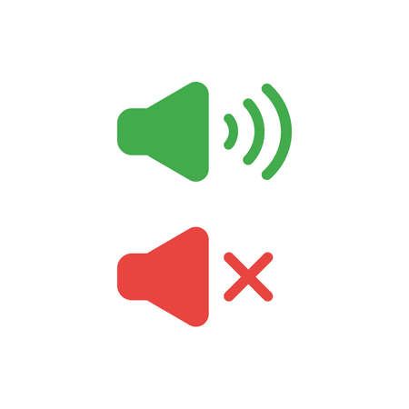 Flat design illustration concept of green and red speaker sound symbol icons on and off.
