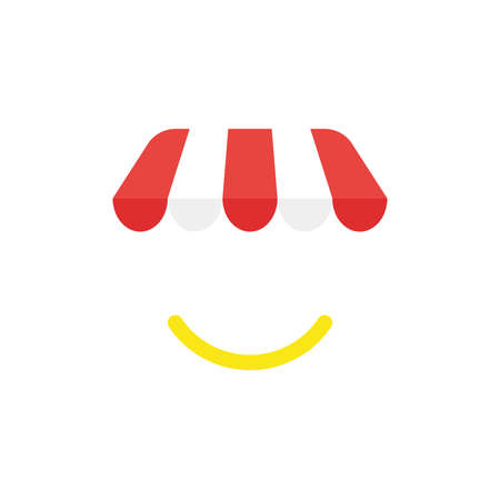 Flat design illustration concept of red and white shop or store awning symbol icon with yellow smiling mouth.