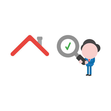 Vector illustration of businessman character holding magnifying glass icon with green check mark and looking, analyzing house.