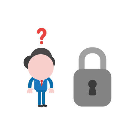 Vector illustration of businessman character confused with question mark and looking to grey closed padlock icon. Illustration
