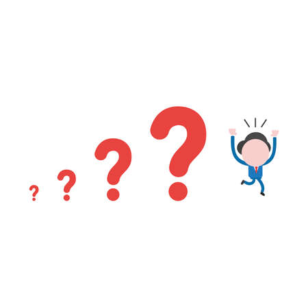 Vector illustration of businessman character running away from red question mark icons, problems growing. Illustration