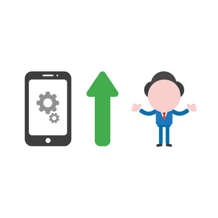 Vector illustration of businessman character with gears inside smartphone icon and green arrow pointing up meaning improve performance.