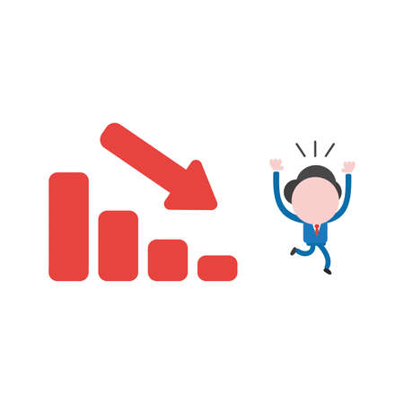 Vector illustration of businessman character running away from red sales bar chart icon moving down.