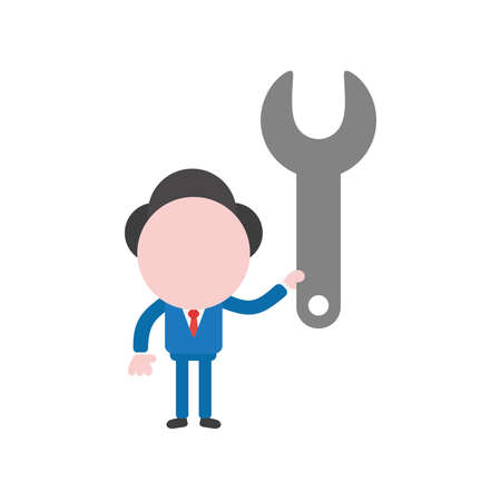 Vector illustration of businessman character holding grey spanner icon.