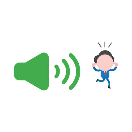 Vector illustration of businessman character close ears with fingers and running away from loud voice green speaker sound icon.