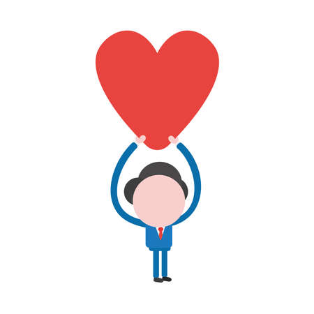 Vector illustration of businessman character holding up red heart icon.