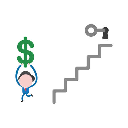 Vector illustration of businessman character unlock keyhole at top of stairs with grey key and running and holding up green dollar symbol.