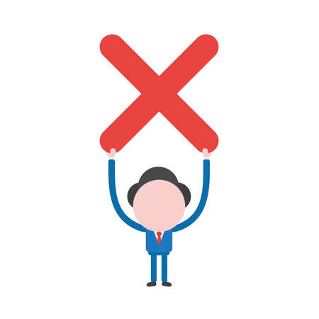 Vector illustration of businessman character holding up red x mark icon. Illustration