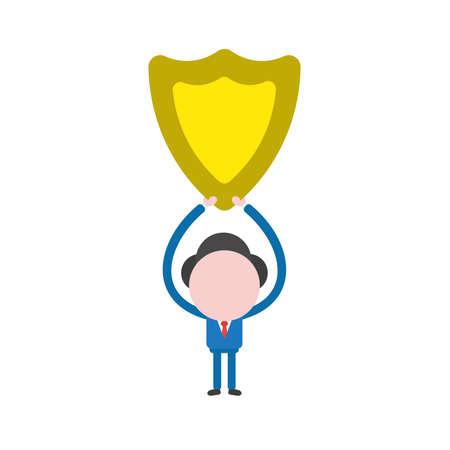 Vector illustration of businessman character holding up yellow shield guard icon. Illustration