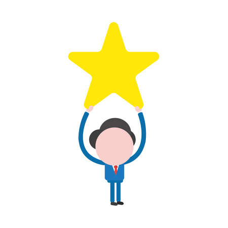 Vector illustration of businessman character holding up yellow star icon.