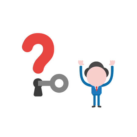 Vector illustration of businessman character unlock question mark keyhole with key.