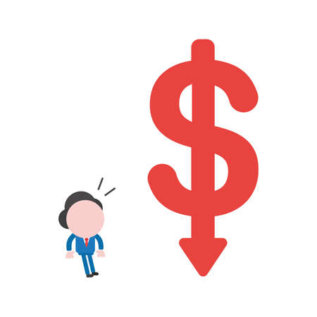 Vector illustration of businessman character looking big red dollar symbol with arrow moving down.