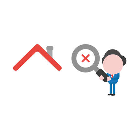 Vector illustration of businessman character holding magnifying glass icon with red x mark and looking, analyzing house. Illustration