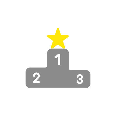 Vector illustration concept of yellow star symbol on first place of winners podium icon.