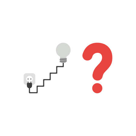 Vector illustration concept of grey light bulb with staircase shaped cable and plug, outlet and red question mark icon.