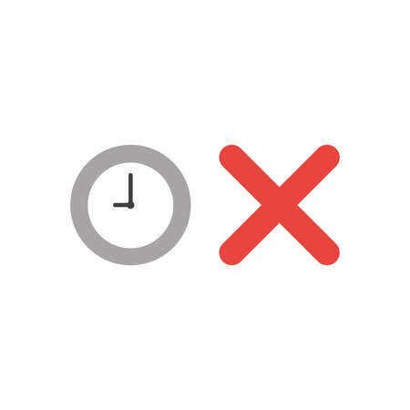 Vector illustration concept of grey clock time with red x mark icon.