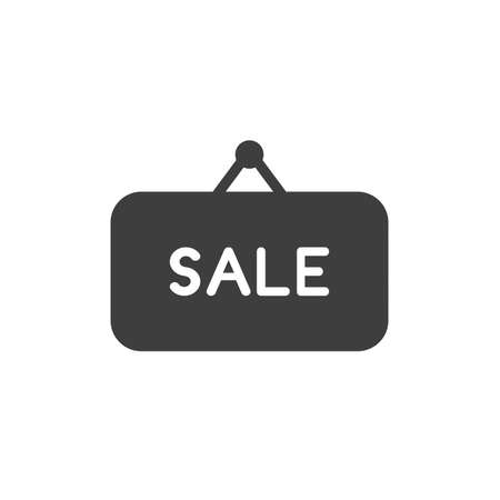 Vector illustration concept of sale word written on black hanging sign. Иллюстрация