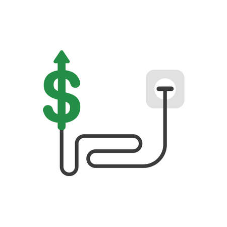 Vector illustration concept of green dollar symbol with cable and plugged into outlet and arrow moving up. Çizim