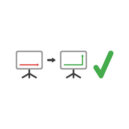 Vector illustration concept of arrow moving down and up on sales chart with green check mark icon.  イラスト・ベクター素材