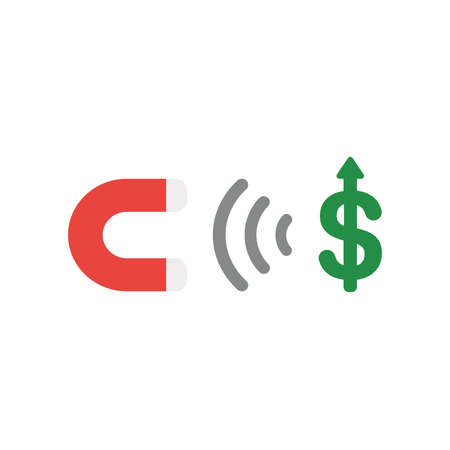 Vector illustration concept of red magnet icon attracting green dollar symbol.
