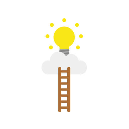 Vector illustration concept of reach yellow glowing light bulb icon on cloud with wooden ladder. Illustration