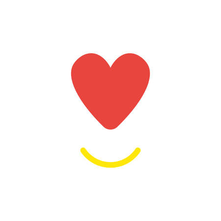 Vector illustration concept of red heart symbol with smiling mouth. 일러스트
