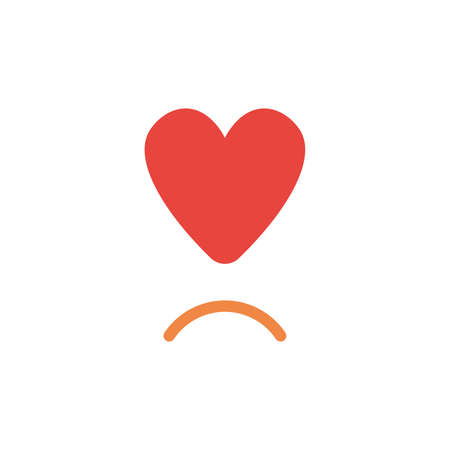 Vector illustration concept of red heart symbol with sulking mouth.