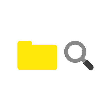Vector illustration concept of closed yellow file folder with magnifying glass icon.