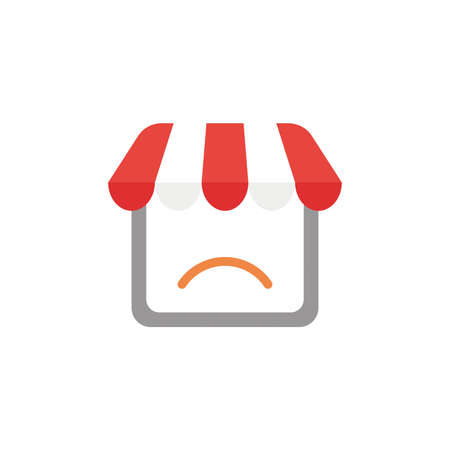 Vector illustration concept of shop store icon with sulking mouth.