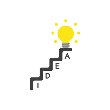 Vector illustration concept of idea word written in stairs and yellow glowing light bulb icon at the top of stairs. Illustration