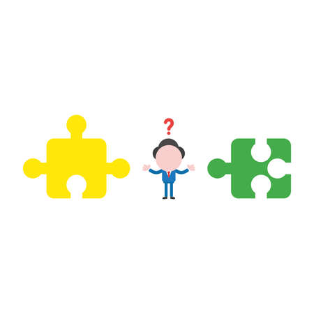 Vector illustration concept of confused businessman character with two incompatible jigsaw puzzle pieces. Çizim