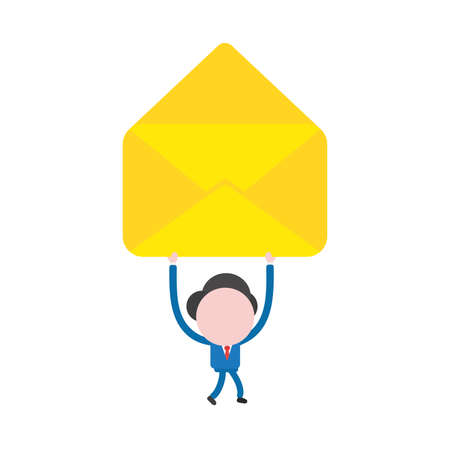 Vector illustration concept of businessman character walking and holding up yellow open empty envelope icon. Illustration