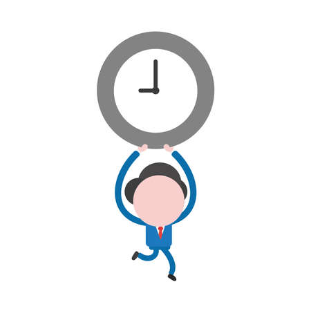 Vector illustration concept of businessman character running and holding up clock time icon.