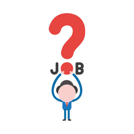 Vector illustration concept of businessman character holding up job word with red question mark icon. Illustration