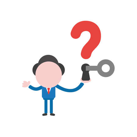 Vector illustration concept of businessman character holding red question mark with keyhole and key unlock.