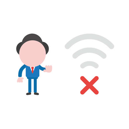 Vector illustration concept of businessman character with gray wireless wifi symbol and red x mark icon.