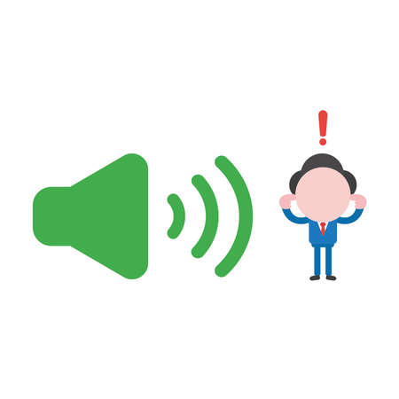 Vector illustration concept of businessman character closed ears to loud voice green speaker sound icon.
