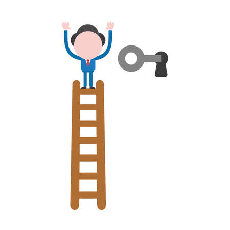 Vector illustration concept of businessman character climb to top of wooden ladder and unlock with key icon.