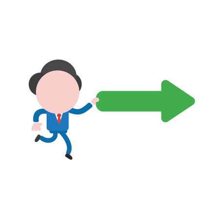 Vector illustration concept of businessman character running and holding green right arrow icon.
