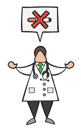 Vector illustration cartoon doctor man with speech bubble and saying no smoking.
