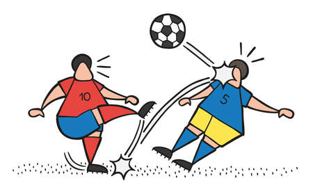 Vector illustration cartoon soccer player man kicking ball and hitting other player's face. Ilustração