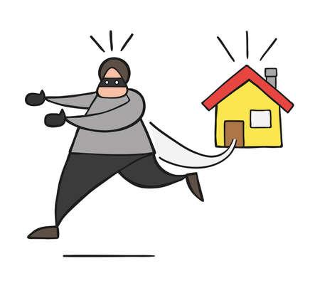 Homme de voleur de dessin animé illustration vectorielle avec visage masqué fuyant la maison.