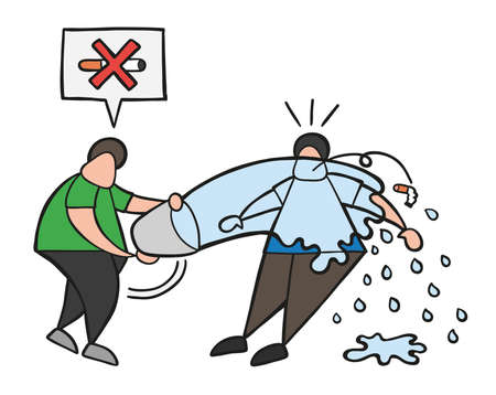 Vector illustration cartoon man character throw water with bucket to smoker and say no smoking cigarette here. Ilustracja